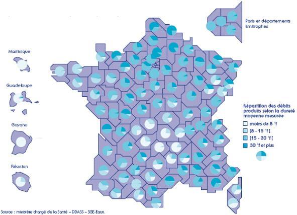 Une carte sur la qualité de l'eau du robinet, disponible ici :  http://www.uae.fr/43-qualite-eau-france.php
